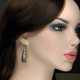 Earrings, 3D stencil long drop