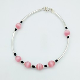 Stone bracelet, stones ball and silver tubes