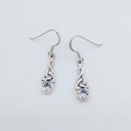 Stone Earrings, with 5mm heart Real Amethyst or Clear Cubic Zirconia.