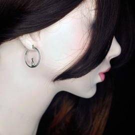 Earrings, 18x25mm hoop with stirrup