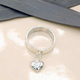 Ring, 6mm band with hanging Silver and Golden puff-heart