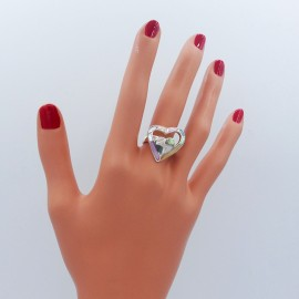 Stone Ring, double hearts multi colours heart shape