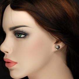 Earrings, 14mm diamond cut heart