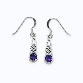 Earrings, with round Authentic Amber, Amethyst and Pink Zirconia.