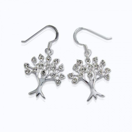 Stone Earrings, Tree with small Swarovski Crystals.