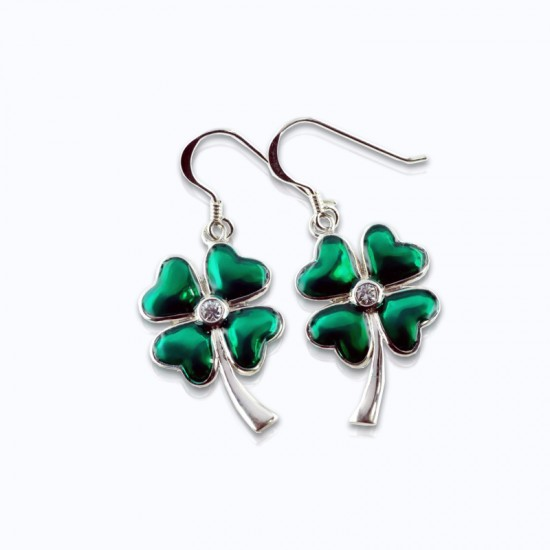 Stone Earrings, enamel lucky clover with small CCZ