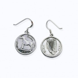 Horse coin round earrings