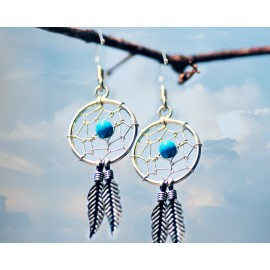 Dream Catcher Earrings Turquoise Bead