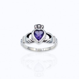 Stone Ring, Claddagh with Amethyst, Ruby, and Sapphire Glass, and Clear cubic zirconia heart stone