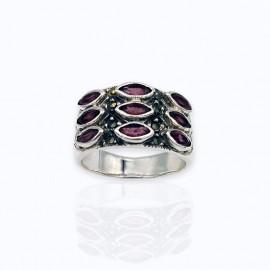 Marcasite ring, authentic 5x2.5mm. marquise garnet gemstones.