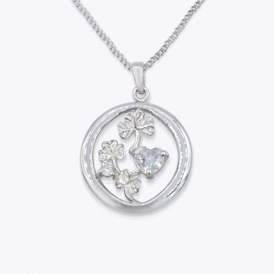 Pendant, Shamrocks in round with clear cubic zirconia or emerald glass.