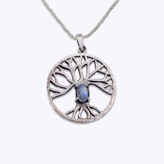 Pendant, Tree of life with oval Amethyst, Moonstone, and Emerald Glass.