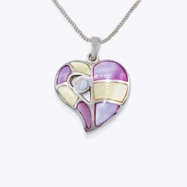 Stone Pendant, multi colours heart shape
