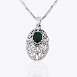 Celtic Stone Pendant, oval cut out with oval Authentic Amethyst, Blue Topaz, Peridot, and Emerald glass.