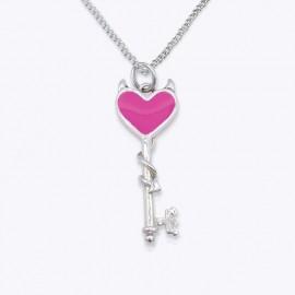 Enamel Pendant, evil heart key
