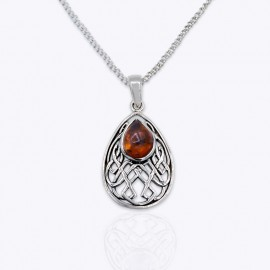 Pendant, drop Authentic Amber, Amethyst, and Blue Topaz gemstones.