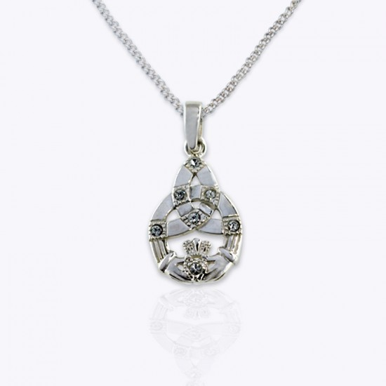 Pendant, Claddagh trinity with Authentic Pink and Clear Swarovski Crystals