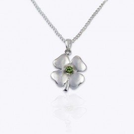 Stone Pendant, lucky clover with Authentic Round Peridot