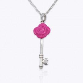 Enamel Pendant, light-pink and deep-pink rose key