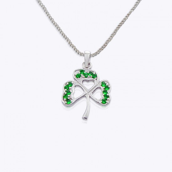 Lucky Clover Shamrock with Emerald and Clear cubic zirconia.