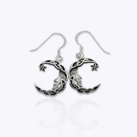 Earrings, Celtic star moon