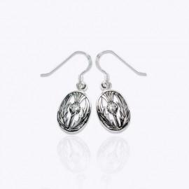 Earrings, oval thistles.