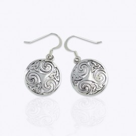 Earrings, 18 mm. round triskelion and trinity.