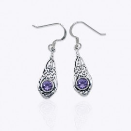 Earrings, Drop Celtic sailor knot with round Real Amethyst.