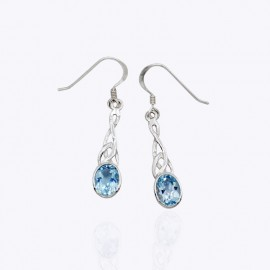 Earrings, Trinity Celtic with 6x8mm Authentic blue topaz, Moonstone, or Sapphire Glass.