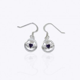 Earrings, round Claddagh with heart Amethyst CZ