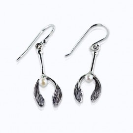 Earrings, Mistletoe with fresh water pearl.