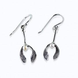 Earrings, Mistletoe with fresh water pearl.