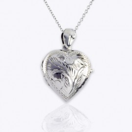 Necklace Locket, 22 mm heart urn, missing you mom engraved.