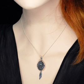 Necklace Locket, Turquoise dream catcher containing 22 mm. pictures and 2 feathers.