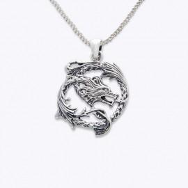 Necklace Pendant, round dragon.