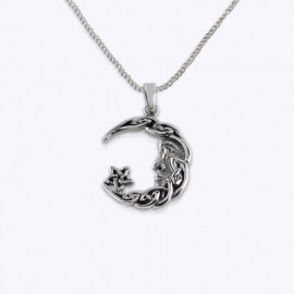 Necklace Pendant, Celtic moon star.