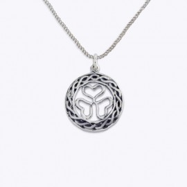 Necklace Pendant, 20 mm. round openwork shamrock.