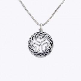 Necklace Pendant, 20 mm. round openwork shamrock.