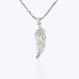 Necklace Stone Pendant, wing with small CZ.