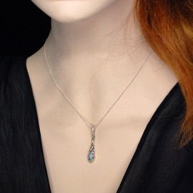 Necklace Stone Pendant, Trinity Celtic with 6x8 mm. oval real blue Topaz and Moonstone.