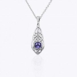 Necklace Pendant, Celtic sailor's knot with round real Amethyst