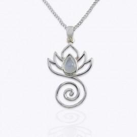 Necklace Pendant, openwork lotus with drop real rose quartz.