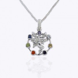 Necklace Pendant, Fairy with 7 colors wheels Chakra.