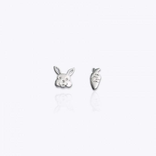 Earrings, rabbit and carrot.