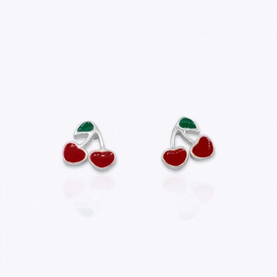 Earrings, two cherries.