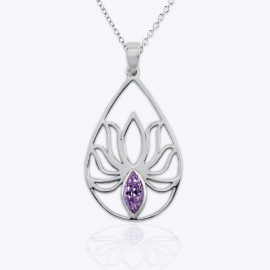 Necklace Pendant, openwork drop lotus design with real Amethyst.
