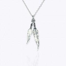 Necklace Pendant double feathers.