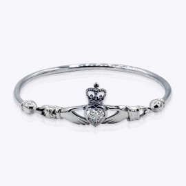 Stone Bangle, Claddagh with 7x7mm heart Real Blue Topaz stone