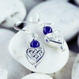 Stone Earrings, heart and stone bead