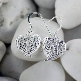Angel wing heart earrings